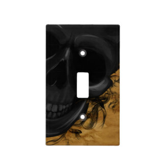 Black Smiling Skull surrounded by Bats and Smoke Light Switch Cover