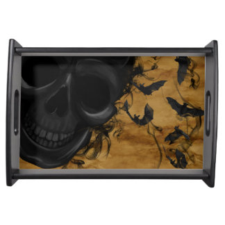 Black Smiling Skull surrounded by Bats and Smoke Serving Tray