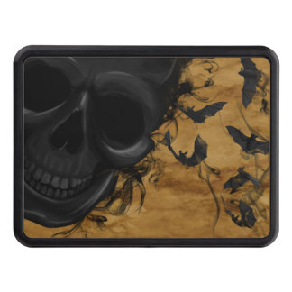 Black Smiling Skull surrounded by Bats and Smoke Trailer Hitch Cover