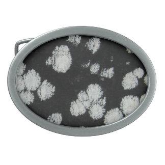 Black snowflake obsidian gemstone belt buckle