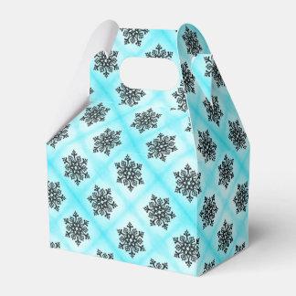 Black Snowflake on Blue Favor Box