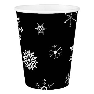 Black Snowflake Paper Cup