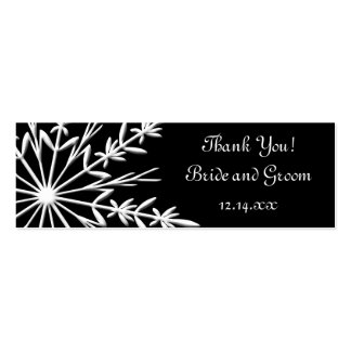 Black Snowflake Wedding Favor Tags Mini Business Card