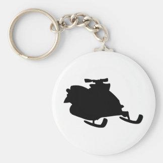 black snowmobile basic round button keychain