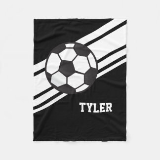 Black Soccer Ball Sports Personalized Name Fleece Blanket
