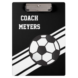 Black Soccer Coach Personalized Clipboard