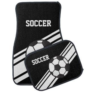 Black Soccer Stripes Sport Car Floor Mats