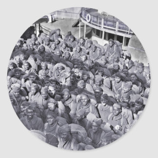 Black Soldiers on Transport Ship WWI Classic Round Sticker