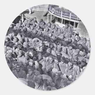 Black Soldiers on Transport Ship WWI Round Sticker