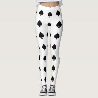 black  spades on white leggings