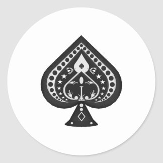 Black Spades: Playing Cards Suit: Round Sticker