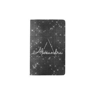 Black Sparkle Bling Girly Monogram Notebook