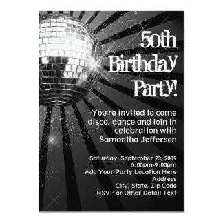 "Black Sparkle Disco Ball 50th Birthday Party 4.5"" X 6.25"" Invitation Card"