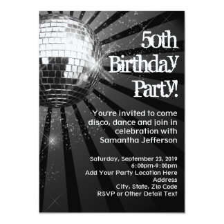 Black Sparkle Disco Ball 50th Birthday Party Card