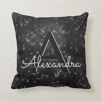 Black Sparkle Shimmer Monogram Name & Initial Throw Pillow