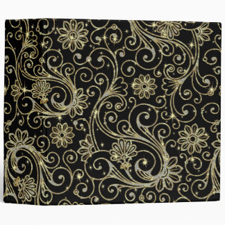 Black Sparkles Diamonds & Gold Floral Damasks Vinyl Binders