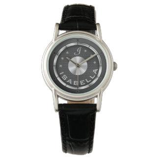 Black speaker background monogrammed watch