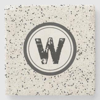 Black Speckle Monogram Stone Coasters