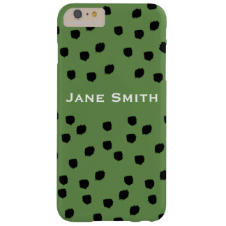 Black Speckled Pattern with Green Barely There iPhone 6 Plus Case