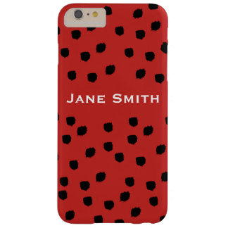 Black Speckled Pattern with Red Barely There iPhone 6 Plus Case