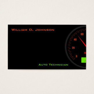 Black Speedometer Mechanic or Auto Technician Business Card