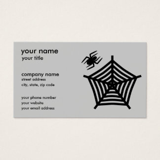 Black Spider and Web Silhouette Horizontal Business Card