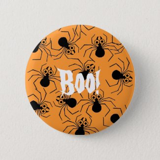 Black Spider Halloween Boo Orange Pin