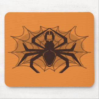 Black spider in web mouse pad