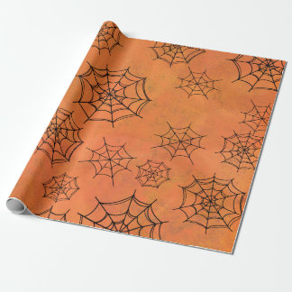 Black Spider Web on Orange Gift Wrapping Paper