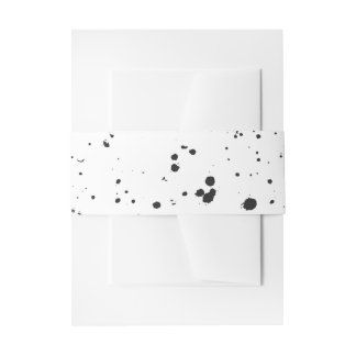 Black Splatter Invitation Bands Invitation Belly Band