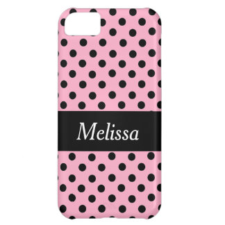 Black Spot Polka Dot On Pink Personalized Case