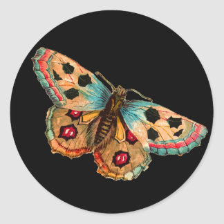 Black Spotted Butterfly Classic Round Sticker