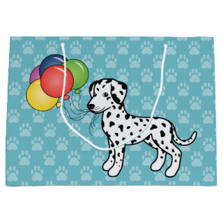 Black Spotted Dalmatian Birthday Balloons Dog Large Gift Bag