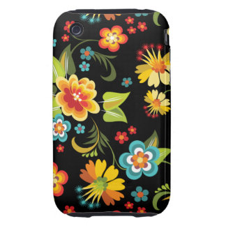 Black Spring Floral iPhone 3 Tough Cover