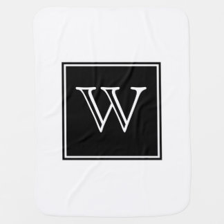 Black Square Monogram Baby Blanket