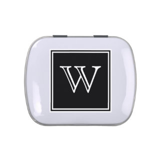 Black Square Monogram Candy Tin