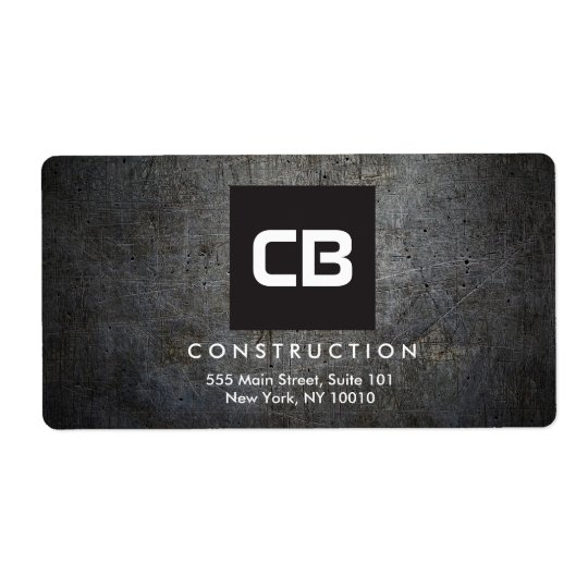 Black Square Monogram Grunge Metal Construction Shipping Label