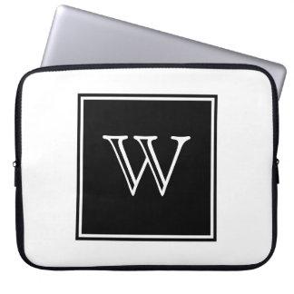 Black Square Monogram Laptop Computer Sleeves