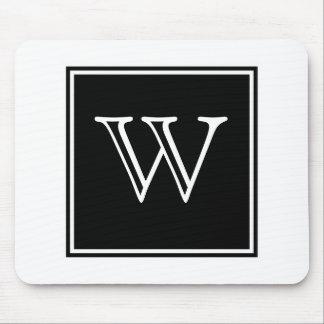Black Square Monogram Mousepad