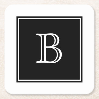 Black Square Monogram Paper Coaster