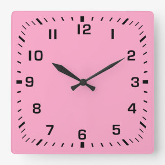 Black Square Number Faceplate on Carnation Pink Square Wall Clock