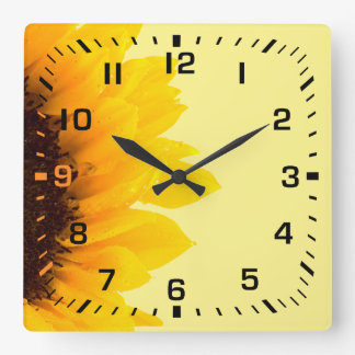 Black Square Numbers / Soft Yellow Brown Sunflower Square Wall Clock