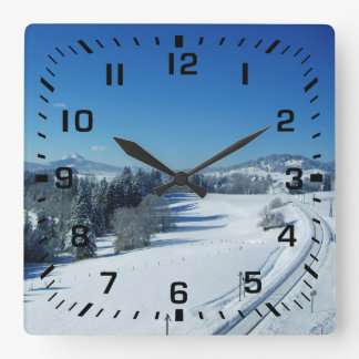 Black Square Numbers / Winter Snow Railroad Tracks Square Wall Clock