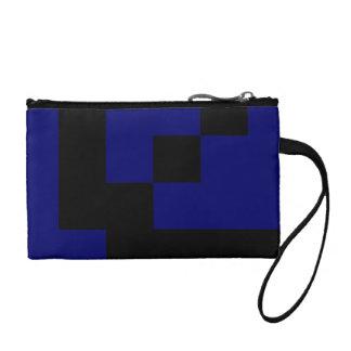 Black Squares on Dark Navy Blue Change Purse