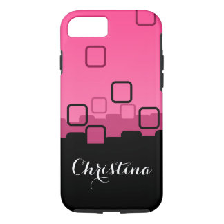 Black Squares on Hot Pink iPhone 7 Case