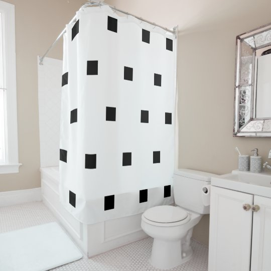 Black squares shower curtain
