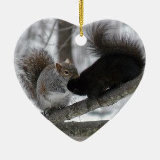 Black Squirrel Ceramic Heart Ornament