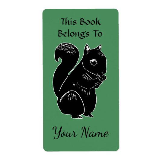Black Squirrel Green Custom Bookplate Labels