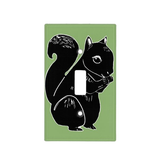 Black Squirrel Green Light Switch Cover