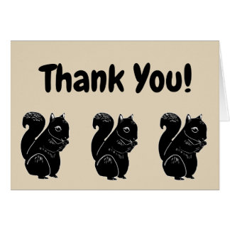 Black Squirrels Beige Thank You Card